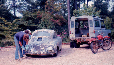 It took multiple applications of stripper to get down to bare metal. That's my 1961 Land Rover on the right with the OSSA 250 Pioneer leaned on it. I still have the OSSA too....