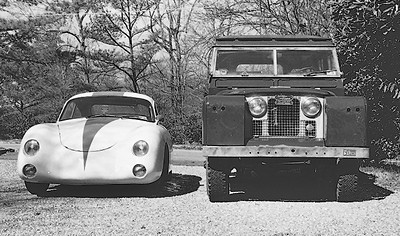 """The Carrera in 1980 posed with my 1966 Land Rover 109"""" diesel wagon"""